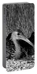 Black And White Resting Limpkin Bird Portable Battery Charger