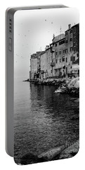 Black And White - Rovinj Venetian Buildings And Adriatic Sea, Istria, Croatia Portable Battery Charger