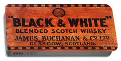 Black And White Scotch Whiskey Wood Sign Portable Battery Charger