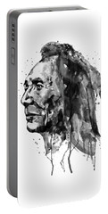 Portable Battery Charger featuring the mixed media Black And White Sioux Warrior Watercolor by Marian Voicu