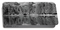 Portable Battery Charger featuring the photograph Black And White Sprague Lake Reflection by Dan Sproul