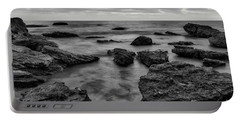 Black And White Sunset At Low Tide Portable Battery Charger