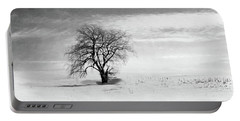 Black And White Tree In Winter Portable Battery Charger