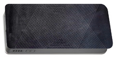 Black And White Triangular Line Art Portable Battery Charger by Brandi Fitzgerald
