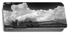Black And White Vienna Maine Flying Pond With Storm Clouds Fine Art Print Portable Battery Charger by Keith Webber Jr