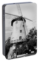 Black And White Windmill Portable Battery Charger by Sandy Taylor