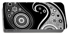 Black And White Yin Yang Paisley Design Portable Battery Charger