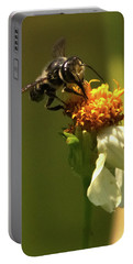 Black And Yellow Bee Pollinating Portable Battery Charger
