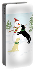 Black And Yellow Labs With Snowman Portable Battery Charger