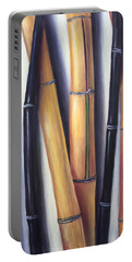 Portable Battery Charger featuring the painting Black And Gold Bamboos by Randol Burns