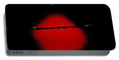Black Barbed Wire Over Black And Blood Red Background Eerie Imprisonment Scene Portable Battery Charger