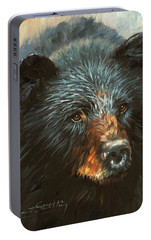 Portable Battery Charger featuring the painting Black Bear by David Stribbling