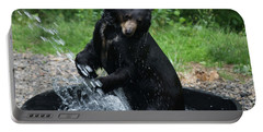 Black Bear Enjoys His Shower Portable Battery Charger