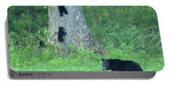 Portable Battery Charger featuring the photograph Black Bear Sow And Four Cubs by Coby Cooper