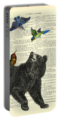 Black Bear With Colorful Tropical Birds Portable Battery Charger