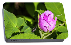 Portable Battery Charger featuring the photograph Black Bee On Approach by Darcy Michaelchuk