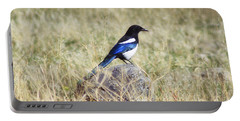 Black-billed Magpie Portable Battery Charger by Janie Johnson
