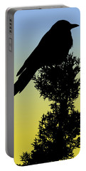 Black-billed Magpie Silhouette At Sunrise Portable Battery Charger