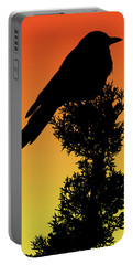 Black-billed Magpie Silhouette At Sunset Portable Battery Charger