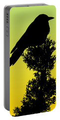 Black-billed Magpie Silhouette - Special Request Background Portable Battery Charger