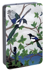 Portable Battery Charger featuring the painting Black Billed Magpies by Teresa Wing