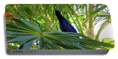 Portable Battery Charger featuring the photograph Black Bird And Green Leaf by Francesca Mackenney