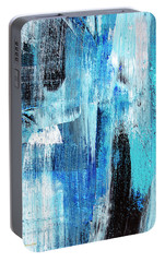 Portable Battery Charger featuring the painting Black Blue Abstract Painting by Christina Rollo