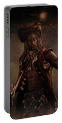 Portable Battery Charger featuring the digital art Black Caesar Pirate by Shanina Conway