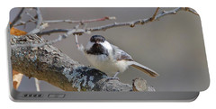 Black Capped Chickadee 1109 Portable Battery Charger by Michael Peychich