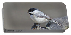 Black Capped Chickadee 1128 Portable Battery Charger by Michael Peychich