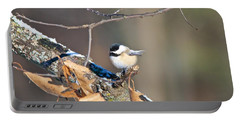 Black Capped Chickadee 1134 Portable Battery Charger by Michael Peychich