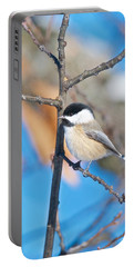 Black Capped Chickadee 1140 Portable Battery Charger by Michael Peychich