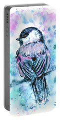 Portable Battery Charger featuring the painting Black-capped Chickadee by Zaira Dzhaubaeva