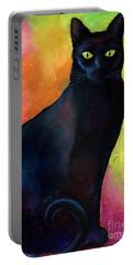 Black Cat 9 Watercolor Painting Portable Battery Charger by Svetlana Novikova