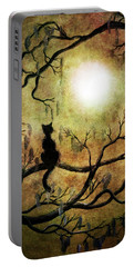 Black Cat And Full Moon Portable Battery Charger