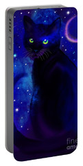 Portable Battery Charger featuring the painting Black Cat Blues  by Nick Gustafson