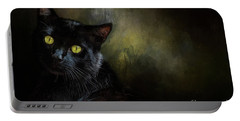 Black Cat Portrait Portable Battery Charger