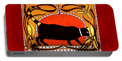 Black Cat With Floral Motif Of Art Nouveau By Dora Hathazi Mendes Portable Battery Charger by Dora Hathazi Mendes