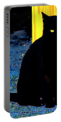 Black Cat Yellow Eyes Portable Battery Charger