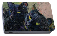 Black Cats Portable Battery Charger by Michael Creese