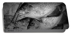 Black Crappie Panfish With Fish Filet Knife In Black And White Portable Battery Charger