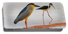Black Crown Night Heron And Stilt Portable Battery Charger by Tom Janca