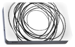 Black Doodle Circular Shape Portable Battery Charger by GoodMood Art