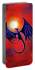 Black Dragon In A Red Sky Portable Battery Charger