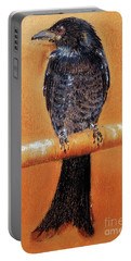Portable Battery Charger featuring the painting Black Drongo  by Jasna Dragun
