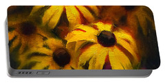 Portable Battery Charger featuring the painting Black Eyed Susans - Vibrant Flowers by Karen Whitworth