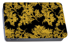 Portable Battery Charger featuring the mixed media Black Gold Leaf Pattern by Christina Rollo