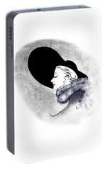 Portable Battery Charger featuring the digital art Black Hat Red Lips by Cindy Garber Iverson