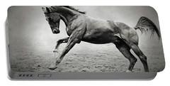 Black Horse In Dust Portable Battery Charger
