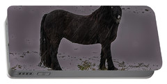 Black Horse In The Snow Portable Battery Charger